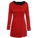 Summer Hot Fashion Star Trek Logo Print Long Sleeves Metallic Stripped Embellished Mini A-Line Dress
