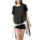 Womens Hot Fashion Black Chiffon Patch Short Sleeve Round Neck Asymmetric Hem Mini T-Shirt Dress