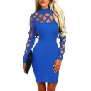 Stylish Hot Sale Plain Cutout Long Sleeve Zipper-Back Fitted Elegant Mini Dress for Evening Party