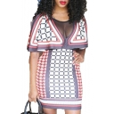 Trendy Women V-Neck Check Print Sheer Mesh Patch Short Sleeves Mini Cape Dress