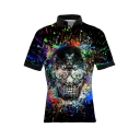 Cool Splash-Ink Skull 3D Pattern Short Sleeve Slim Polo Shirt for Men