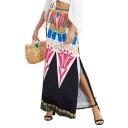 Hot Sale Tribal Print Split Side High Waist Fitted Maxi Skirt
