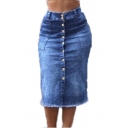 Womens Trendy Washed Button Front High Waist Fringe Hem Slim Fitted Midi Denim Skirt