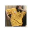 Girls Summer Funny Cartoon Print Round Neck Cotton Loose Oversized T-Shirt