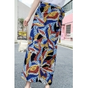 Summer Trendy Tie Side Functional Chiffon Sunscreen Folk Style Holiday Maxi Skirt