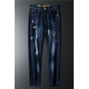 Men's Trendy Letter Bird Embroidery Pattern Dark Blue Casual Ripped Jeans