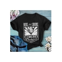 Rise And Shine Mother Clucker Popular Letter Print Short Sleeve Black Graphic Tee