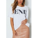 Womens Cool Hollow Letter END Print Ripped Short Sleeve White Oversized T-Shirt