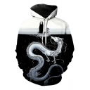 Spirited Away Comic Figure Dragon Printed Black Unisex Sport Hoodie