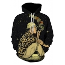 Funny Creative Smoking Planet Figure 3D Print Starry Black Hoodie