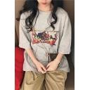 Summer Popular Cartoon Character Print Oversized Boyfriend T-Shirt