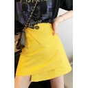 Summer Trendy Yellow Asymmetric Hem High Waist Mini A-Line Skirt