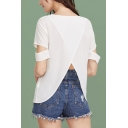 Womens Fashion Hollow Out Short Sleeve Split Back Round Neck Relaxed T-Shirt
