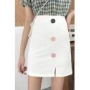 Summer High Waist Button Down Zip-Back Mini A-Line Skirt for Women