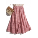 Red Check Print Button Down Chic Vintage Fashion A-Line Midi Skirt