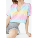 Pink and Blue Ombre Tie Dye V-Neck Short Sleeve Crop T-Shirt