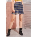 Stylish Womens Hot Sweet Check Print High Waist Ruffle Hem Mini A-Line Skirt