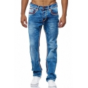 Men's Hot Fashion Contrast Sewing Thread Regular Fit Casual Straight Jeans
