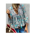 Womens Hot Stylish Plunge V Neck Tribal Print Loose Basic Blouse