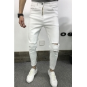 New Fashion Popular Knee Cut Simple Plain White Slim Ripped Jeans for Guys