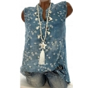 Fashion Womens Button Down Sleeveless Floral Print Chiffon Holiday Blouse