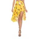 Summer Hot Trendy Boho High Waist Split A-Line Midi Skirt for Sweet Women