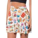 Sweet Hot Stylish High Waist Cartoon Print Pleated Mini Skater Skirt for Women