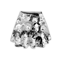 Summer Hot Stylish White High Waist Cartoon Print Flared Mini Skater Skirt for Women