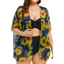 Summer Hot Trendy Oversize Sunflower Print Open Front Beach Sunscreen Chiffon Shirt