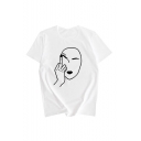 Womens Summer Cool Unique White Cartoon Print Short Sleeve Casual Loose T-Shirts