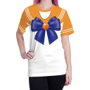 Trendy Cool Style Womens Short Sleeve Round Neck Sailor Moon Graphic Tee T-Shirts