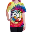 Stylish New Arrival Womens Rainbow Unicon Printed Round Neck Short Sleeve Graphic Tee