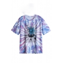 Hot Stylish Womens Tie Dye Short Sleeve Round Neck Sum Print Casual T-Shirt