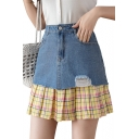 Hot Fashion Women High Waist Check Print Patch Pleated Hem Ripped Mini Denim Skirt