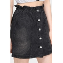 Summer Sweet Womens Fashion Black Paperbag Waist Button Down Mini A-Line Denim Skirt