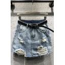 Summer Hot Popular Blue Ripped Fringe Hem Casual Loose A-Line Mini Denim Skirt With Belt