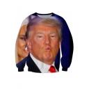 Funny Cute Trump 3D Figure Printed Round Neck Long Sleeve Pullover Sweatshirt