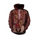 Popular Halloween 3D Blood Muscle Pattern Long Sleeve Casual Loose Unisex Hoodie