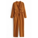 Womens Popular Vintage Chic Plain Long Sleeve Drawstring Waist Button Down Multi Pocket Casual Loose Cargo Jumpsuits