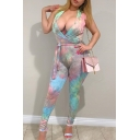 Hot Popular Womens Plunge V Neck Sleeveless Tie Dye Self Tie Summer Nightclub Jumpsuits
