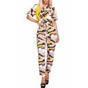 Summer Womens Hot Stylish Yellow Short Sleeve Zip-Front Self Tie Camo Jumpsuits