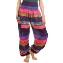 New Trendy Multicolor Striped Pocket Side Elastic Waist Wide Leg Bloomer Pants