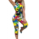 Womens New Stylish Halter Sleeveless Backless Cartoon Printed Slim Rompers Jumpsuits