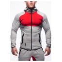 Muscle Guys Outdoor Running Training Color Block Slim Fitted Hoodie