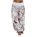 Vintage Elastic Waist Floral Printed Wide Leg Bloomer Pants