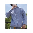 Mens Summer Trendy Striped Printed Flap Pocket Front Long Sleeve Button Down Workwear Shirt