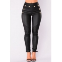 Elegant Black Elastic Waist Button Embellished Ankle Length PU Pants