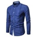Men's New Stylish Pleated Detail Simple Plain Slim Fit Button Up Shirt