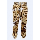 Hot Fashion Bullet Printed Khaki Drawstring Waist Casual Loose Jogging Sweatpants