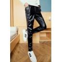 Men's Trendy Solid Color Rivet Zipper Embellished Black Casual Leather Pants